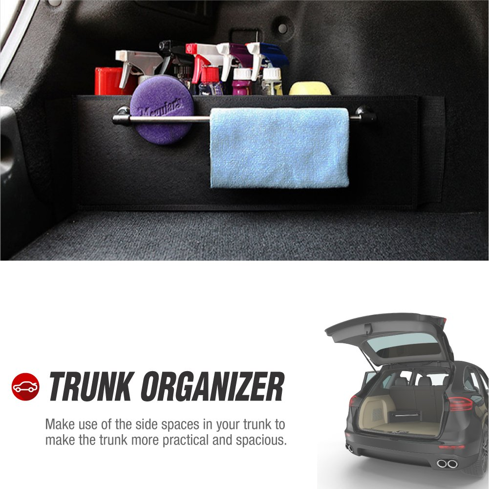 22.4 inch by 7 inch or Minivan RED SHIELD Auto Trunk Organizer for Car One with Towel Rack Set of 2 SUV One Without
