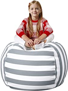 """Aubliss Stuffed Animal Bean Bag Storage Chair, Beanbag Covers Only for Organizing Plush Toys. Turns into Bean Bag Seat for Kids When Filled. Premium Cotton Canvas. 38"""" Extra Large Gray/White Striped"""