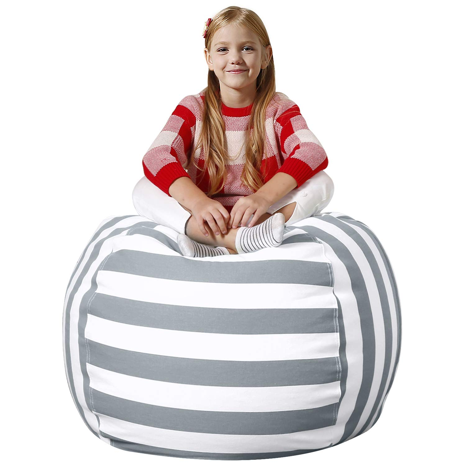 Aubliss Stuffed Animal Bean Bag Storage Chair, Beanbag Covers Only for Organizing Plush Toys. Turns into Bean Bag Seat for Kids When Filled. Premium Cotton Canvas. 38'' Extra Large Gray/White Striped by Aubliss