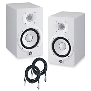 yamaha hs5 pair. Yamaha HS5 Powered Studio Monitors Pair WHITE W/ XLR Cables - Bundle Hs5 5