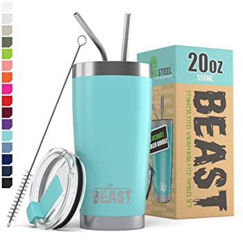Greens Steel 20 Oz Aquamarine Blue Reusable Coffee Cup