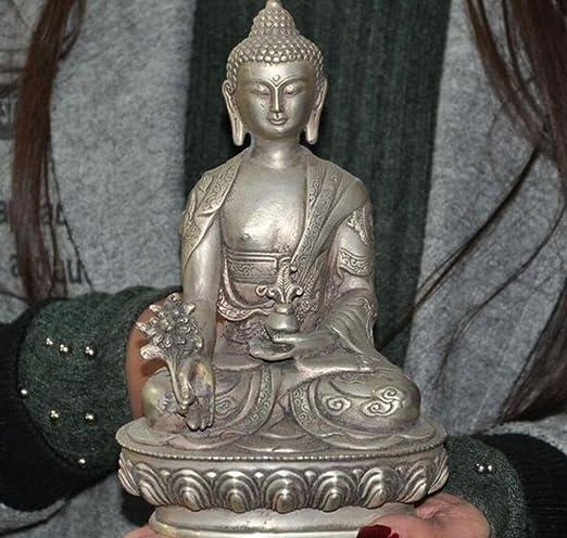 Old China brass Tibetan Buddha Ride a lion Tantric Buddha statue