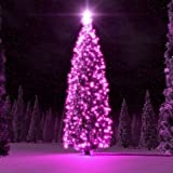 Flexzion Solar Powered String Lights (Pink) 40ft 100 LED Fairy Lighting Flashing Lamp Decal Bulb Ornament Waterproof For Christmas Xmas Holiday Party Decoration