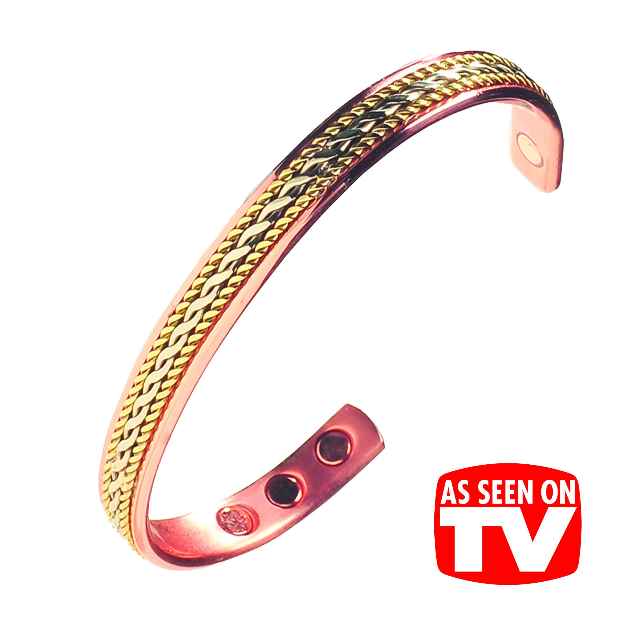 Earth Therapy Women's Pure Copper Magnetic Healing Rope Inlay Bracelet for  Arthritis, Carpal Tunnel,