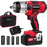 "Avid Power 20V MAX Cordless Impact Wrench with 1/2""Chuck, Max Torque 330 ft-lbs (450N.m), 3.0A Li-ion Battery, 4Pcs…"