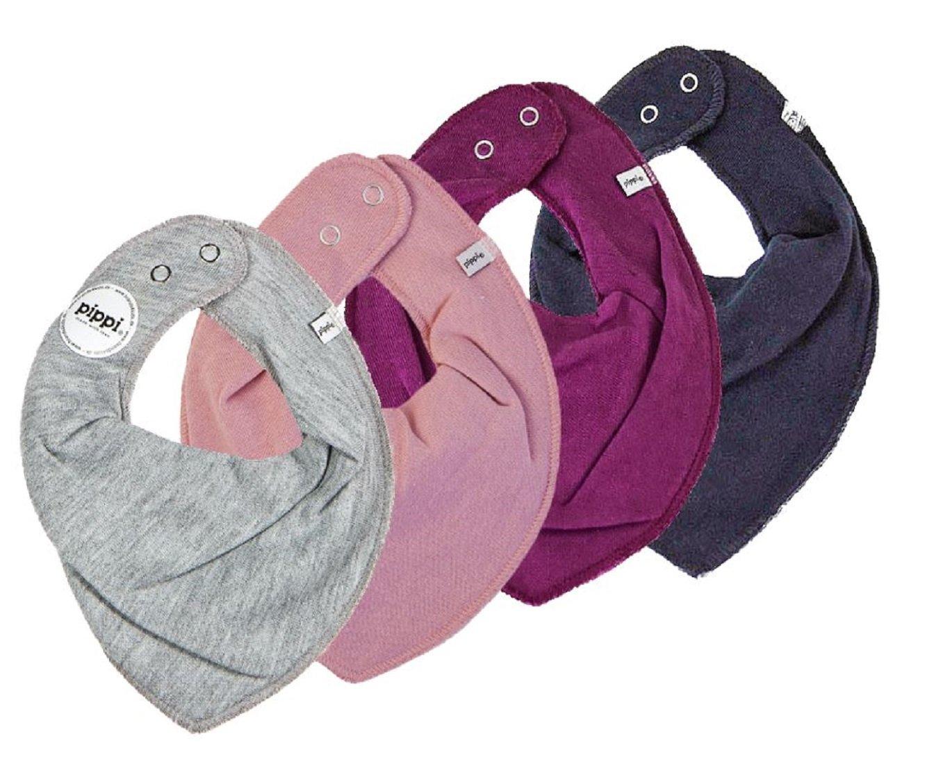 Pippi, set di 4 bavaglini triangolari, fazzoletti da collo, grigio, rosa antico, vinaccia e blu scuro