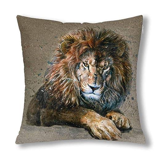 Kinhevao Almohada Protectora de cojín Animal león Acuarela ...