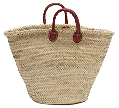 Amazon.com: Marroquí paja bolsa de mercado W/Rojo asas, 24.5 ...