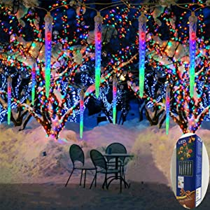 Zezuxy Meteor Shower Lights Multicolor, 192 LED Falling Rain Lights with 30cm 8 icicles rain Drop Christmas Lights Waterproof Icicle Cascading Lights for Thanksgiving Party Holiday Wedding Trees