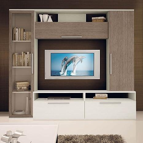 Soggiorno Rovere Grigio : Soggiorno in bianco frassinato e rovere grigio amazon casa e