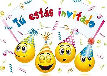 """Edition Colibri 10 Invitaciones cumpleaños Infantil en español """"EMOTICONOS"""": Juego de 10 Invitaciones graciosas Tipo Smiley (10719 ES)"""