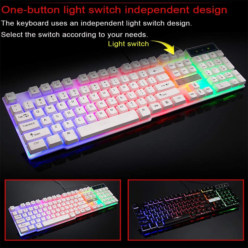 Black Berryhot Multiple Color Rainbow LED Backlit Mechanical Feeling USB Wired Gaming Keyboard for Working or Game