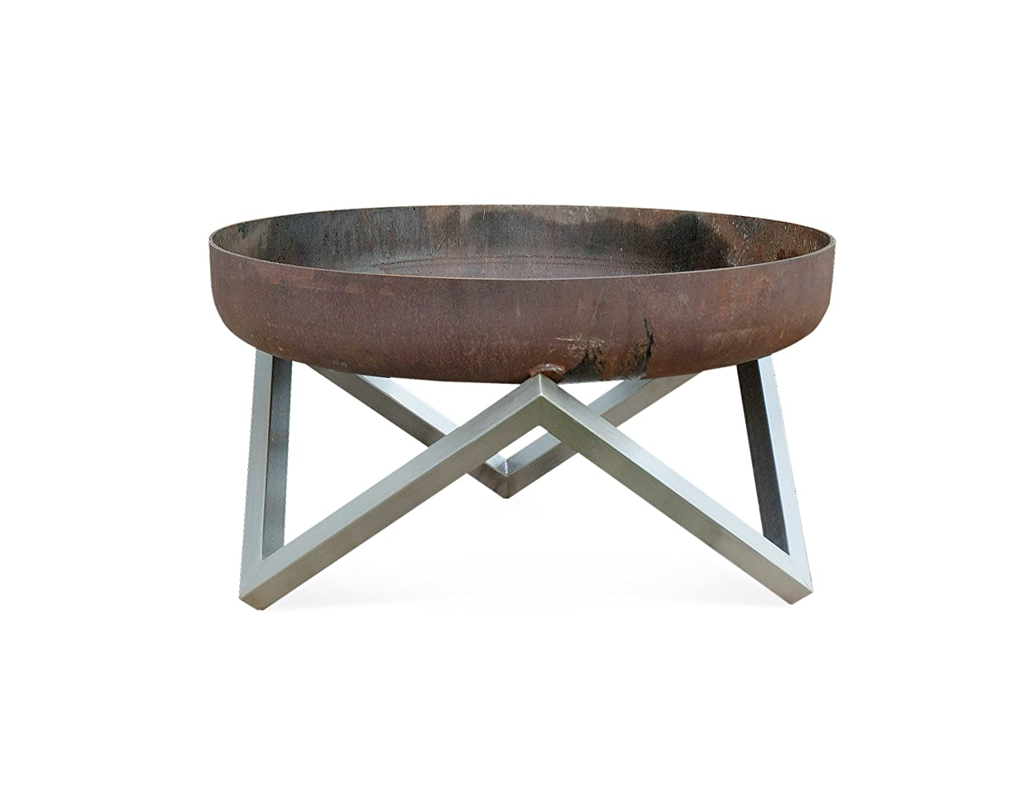 Rust Stainless Steel Modern Outdoor Patio Fire Pit MEMEL Medium