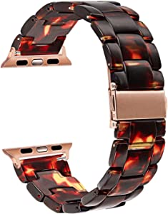 TRUMiRR Watchband Compatible for 38mm 40mm Apple Watch Women, TRUMiRR Fashion Resin Watchband Metal Stainless Steel Buckle Strap Bracelet for iWatch Apple Watch SE Series 6 5 4 3 2 1 All Models