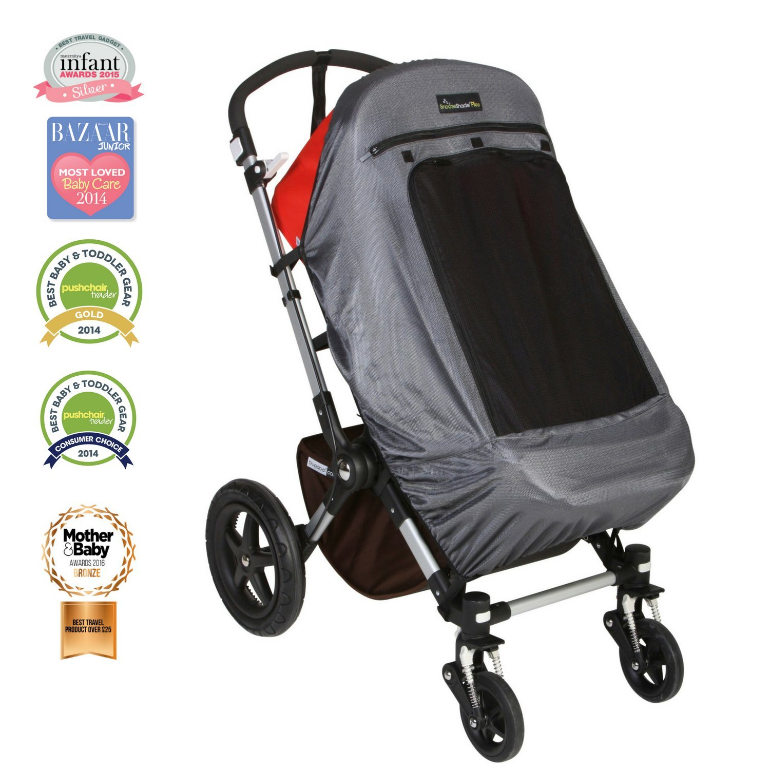 B00C9D1A4Q SnoozeShade Plus Deluxe | Universal fit sun shade for strollers | 360-degree sun and UV protection | Sleep shade and mosquito net | Recommended for 6m+ 71VOm53kHLL