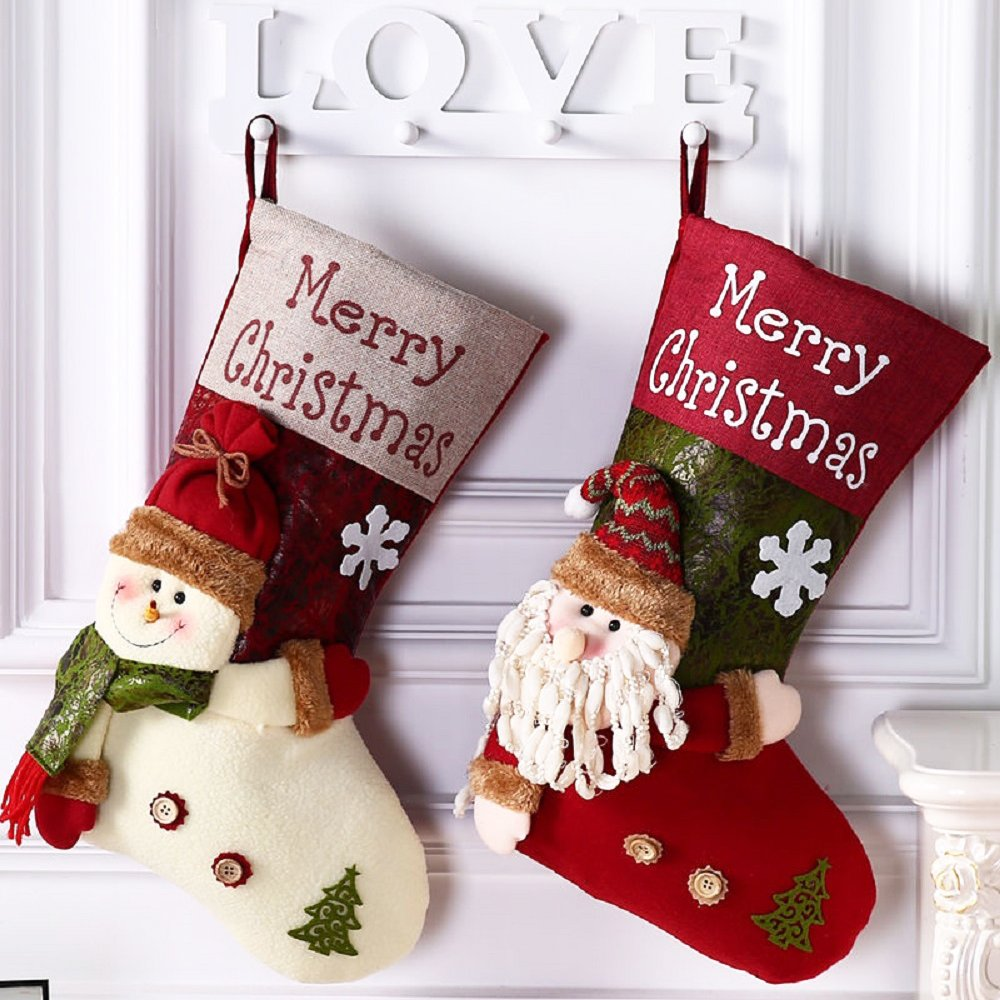 Lovely Christmas Stockings Set,2 Pack Santa Claus Xmas 3D Plush Linen Hanging Tag Knit New Year Christmas Stocking Xmas Gift-19 inch (Santa Claus&Snowman)