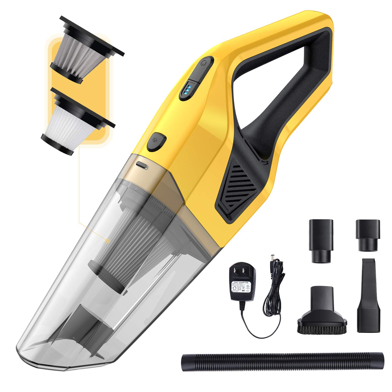 AIKON Handheld Vacuum Cordless, Portable Vacuum Cleaner, with Powerful Suction, Wet and Dry Vacuum Cleaner for Car/Home/Kitchen. (Yellow) by AIKON