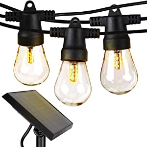 Brightech Ambience Pro Waterproof LED Outdoor Solar String Lights - 1W Vintage Edison Bulbs - 48 Ft Heavy Duty Patio Lights Create Cafe Ambience On Your Porch - Warm White