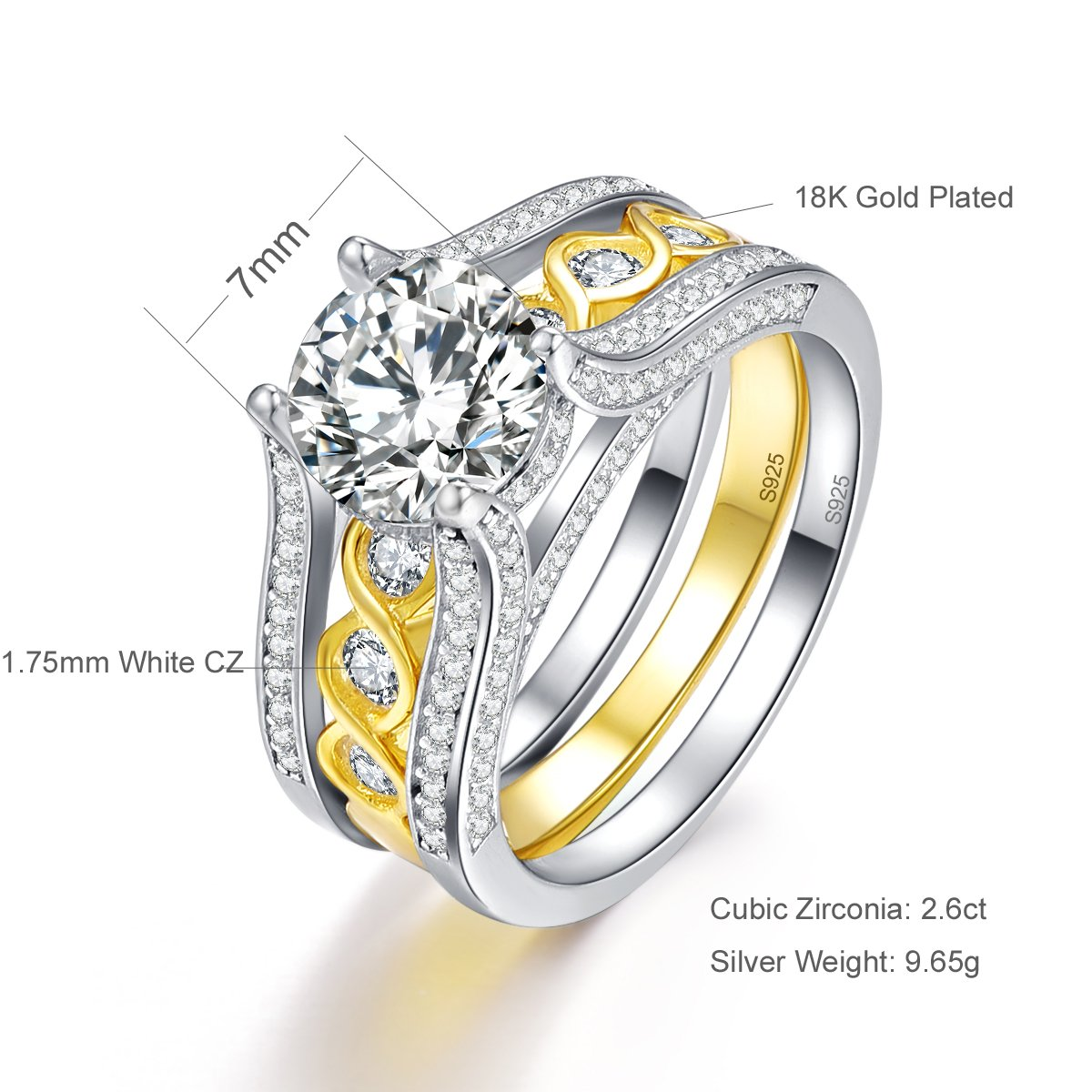 1d2a06d79 Amazon.com: BONLAVIE 2.6 Ct Infinity Cubic Zirconia 18K Gold Plated 925  Sterling Silver Wedding Band Engagement Ring Set: Jewelry