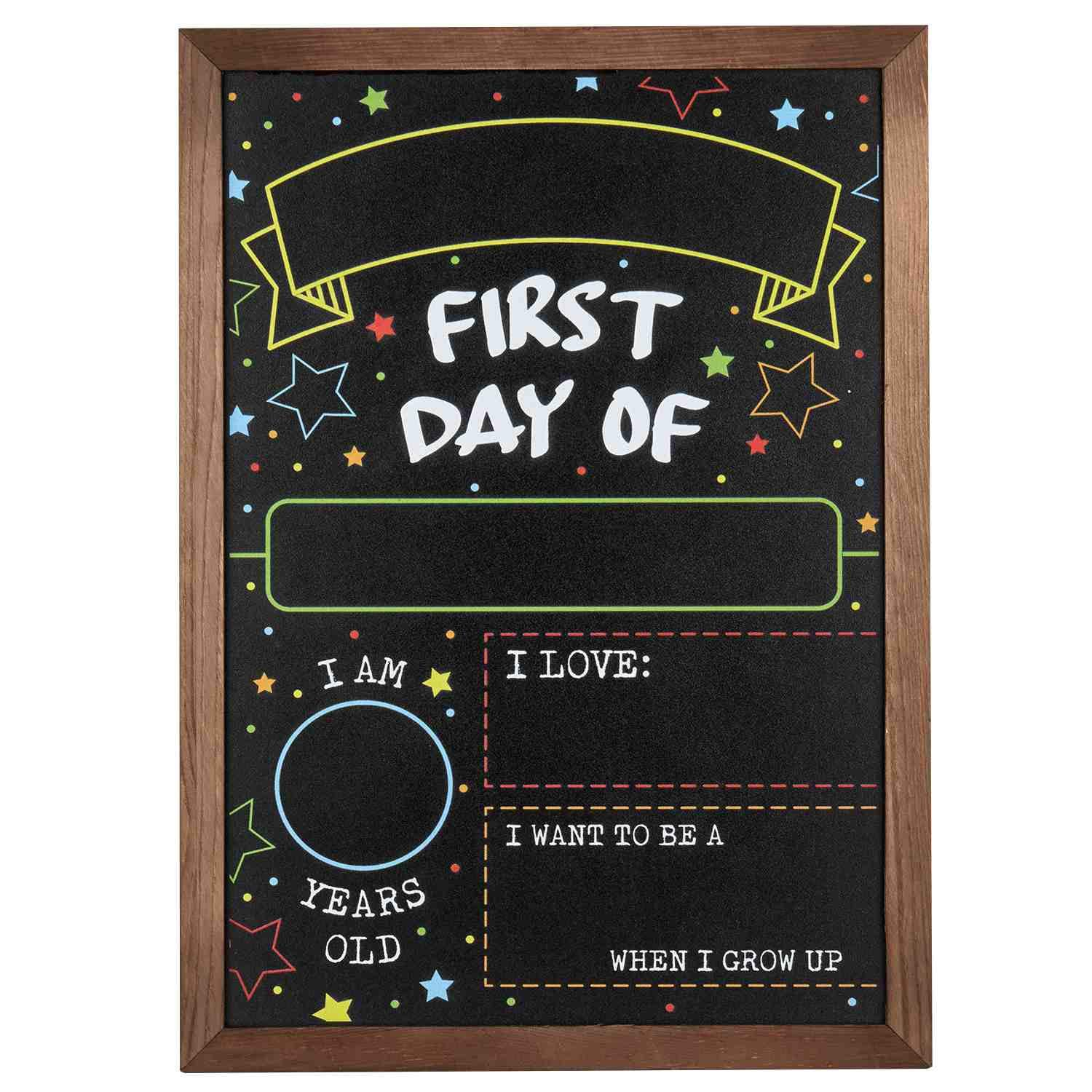 "First Day Last Day of School Chalkboard Double Sided Sign with Frame - 14"" x 10"""