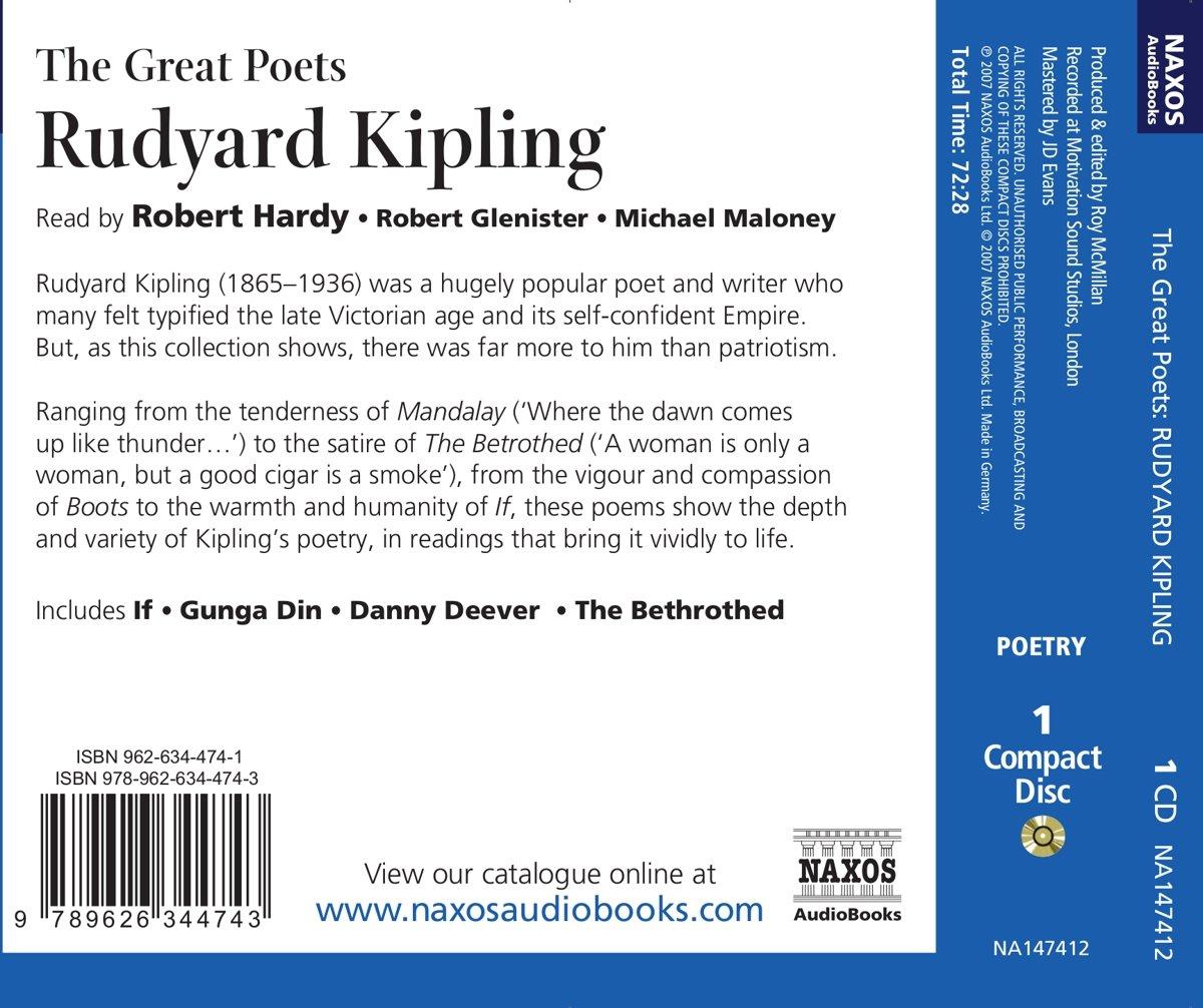 The Great Poets: Rudyard Kipling (Naxos Great Poets): Amazon.co.uk: Rudyard  Kipling: 9789626344743: Books