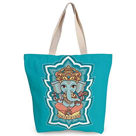 Amazon Com Iprint Personalized Canvas Tote Bag Elephant Bohemian