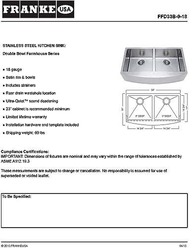 Franke USA FFD33B-9-18 Sink, Stainless Steel