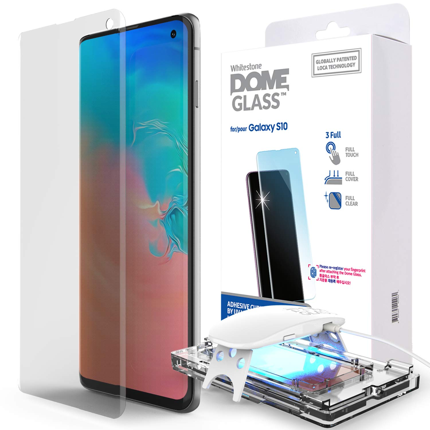 Galaxy S10 Screen Protector, [Dome Glass] Full 3D Curved Edge Tempered Glass [Exclusive Solution for Ultrasonic Fingerprint] Easy Install Kit by Whitestone for Samsung Galaxy S10 (2019) - 1 Pack by Dome Glass