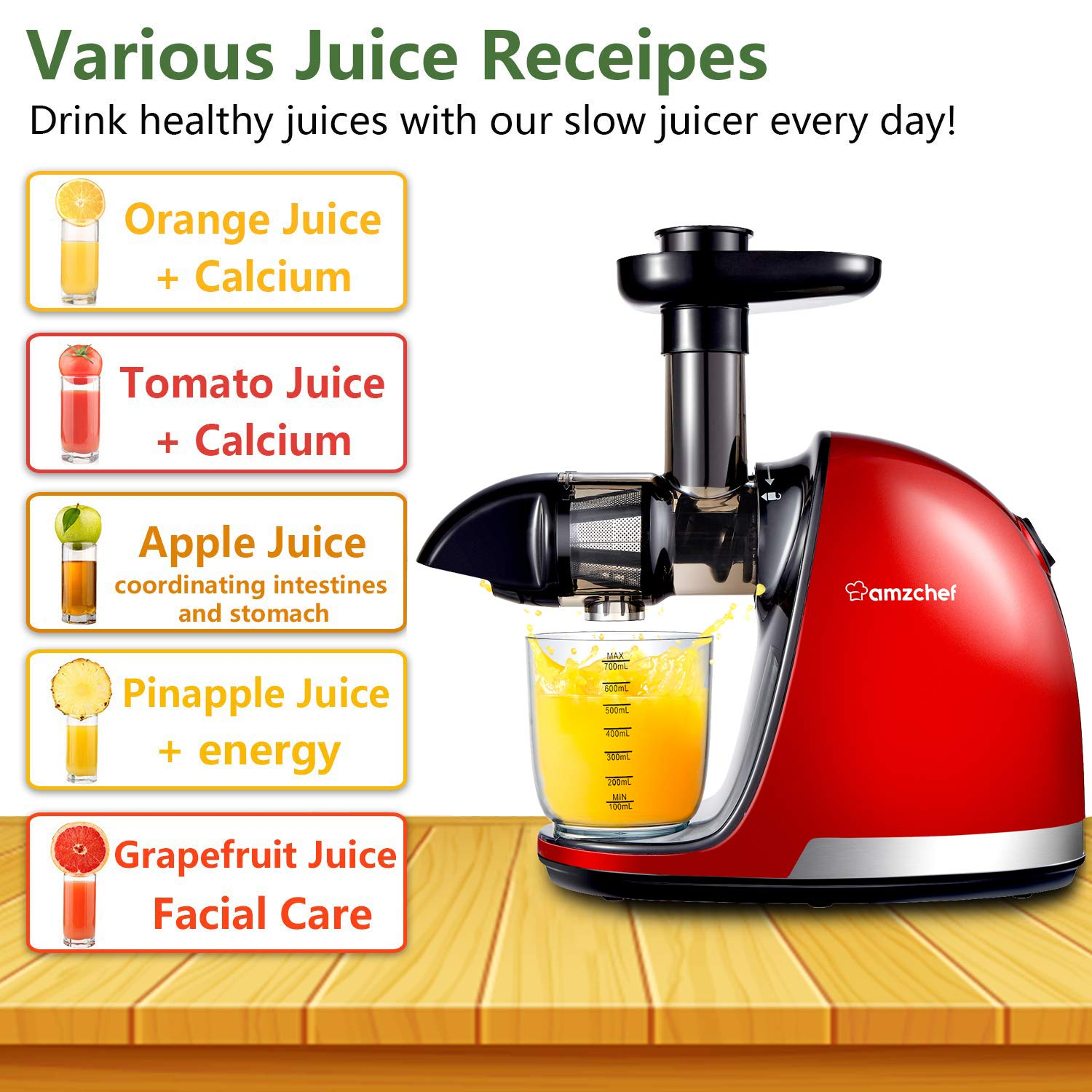 Slow Masticating Juicer,AMZCHEF Juicer Extractor Professional Machine with Quiet Motor//Reverse Function//Easy to Clean with Brush for High Nutrient Fruit /& Vegetable Juice