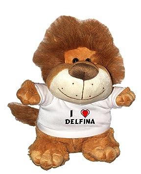 León de peluche (Fetzy) con Amo Delfina en la camiseta (nombre de pila