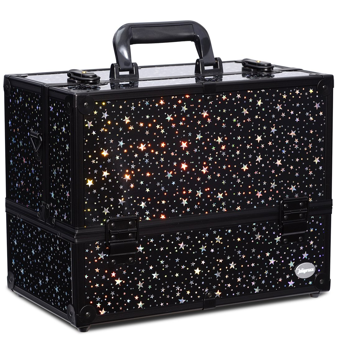 Makeup Case 6 Trays Large 14' x 8.5' x 11' Train Cases Cosmetic Organizer Storage Box by Joligrace - Star Pattern