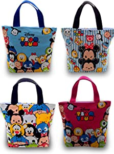 Finex Set of 2 Mickey Minnie Canvas Zippered Tote with Top Carry Handles Bag - Gym Makeup Diaper Reusable Grocery Lunch (Random Color)