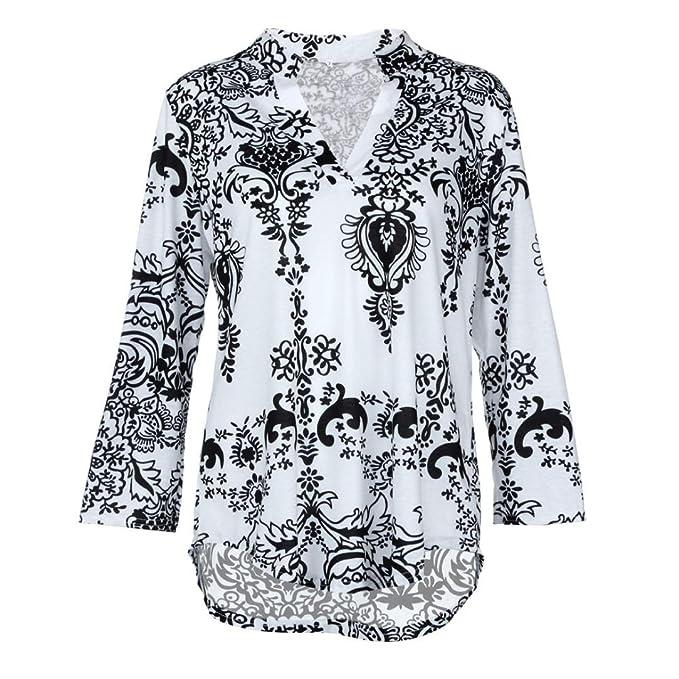 Happy-day Blusas Transparentes, Camisas Mujer, Tops Cortos Mujer, Tops Mujer Verano, Blusa con Cuello EN V de Moda para Mujer Camisa Suelta con Estampado ...