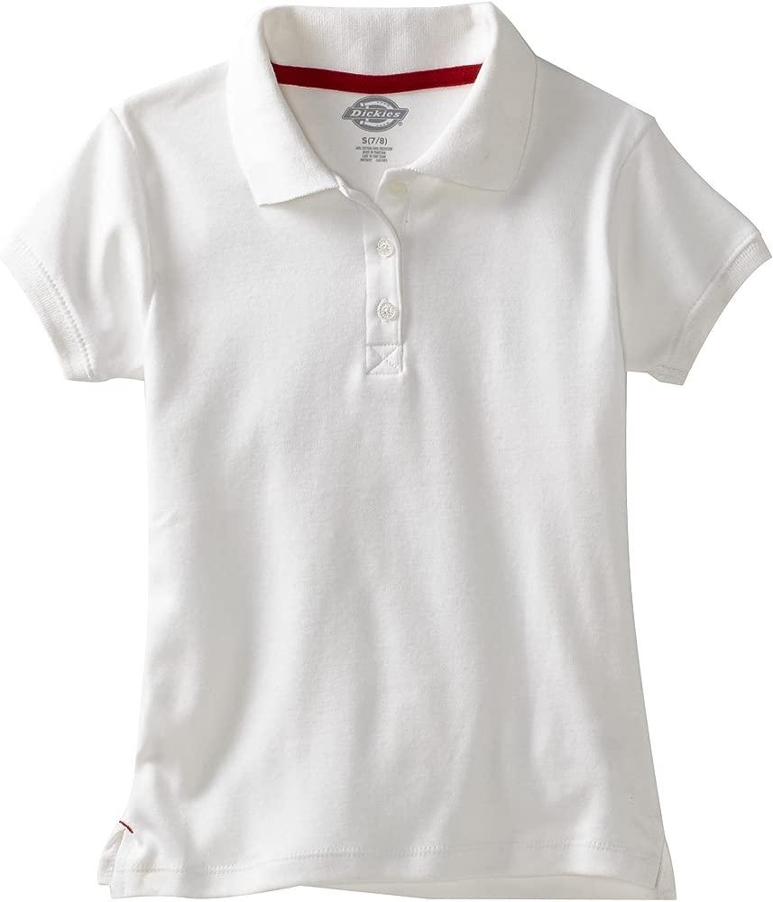 Polo de enclavamiento de manga corta, uniforme, para ni?as, blanco ...
