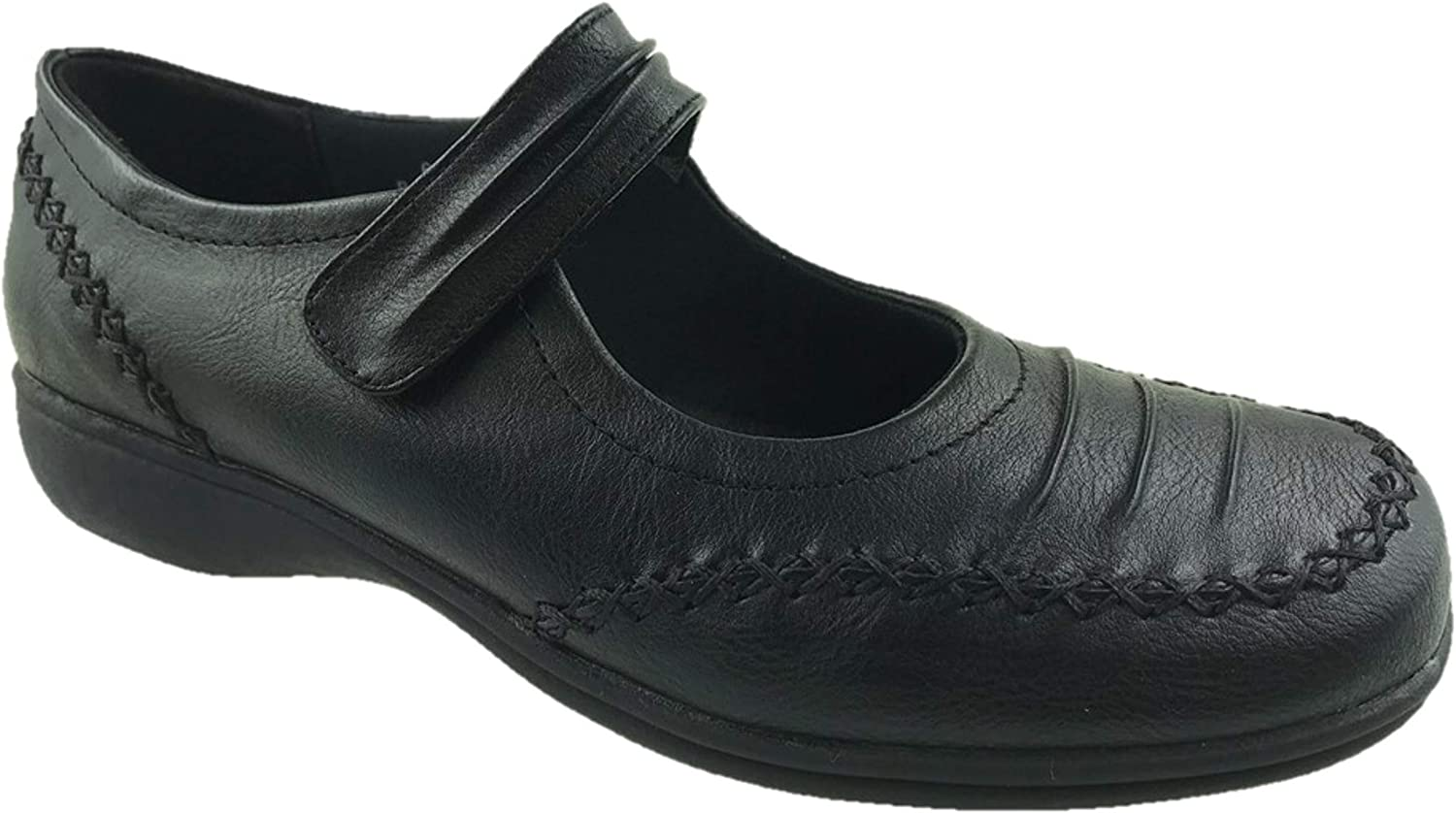 Ladies Faux Leather Mary Jane Low Wedge Comfort Walking Shoes Size UK 4-9 Black