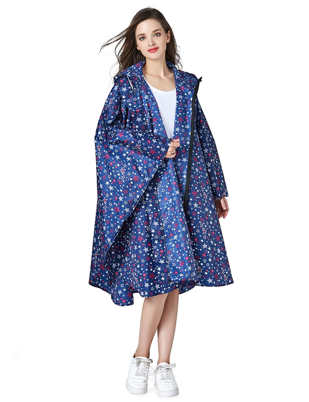 LOHASCASA Unisex Rain Ponchos Running Waterproof for Adults Rain Coat Jacket Windbreak Rainproof Jacket for Womens Foldable Raincoat Outdoor with Zipper Hooded Bike Rainning Coat Rainwear Navy Blue