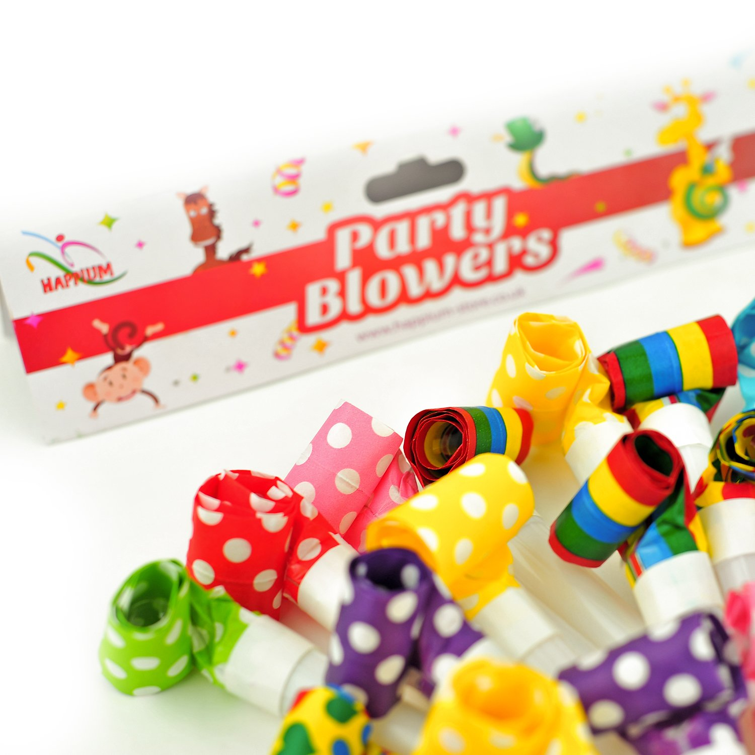 50 X Party Blowers Blowouts Birthday Loot Bag Filler Noise Toy Foil Colours Happium