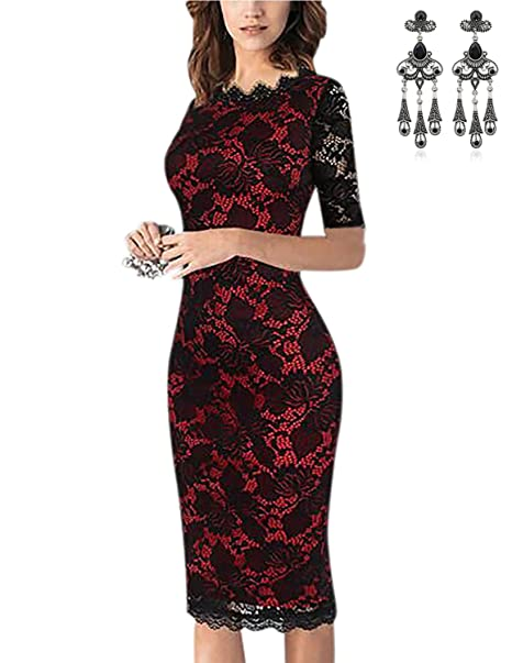 f851042fc782 MODETREND Donna Vestiti Floreale Pizzo Elegante Abito Pannello Esterno  dell anca Pacchetto Abiti Vestito da