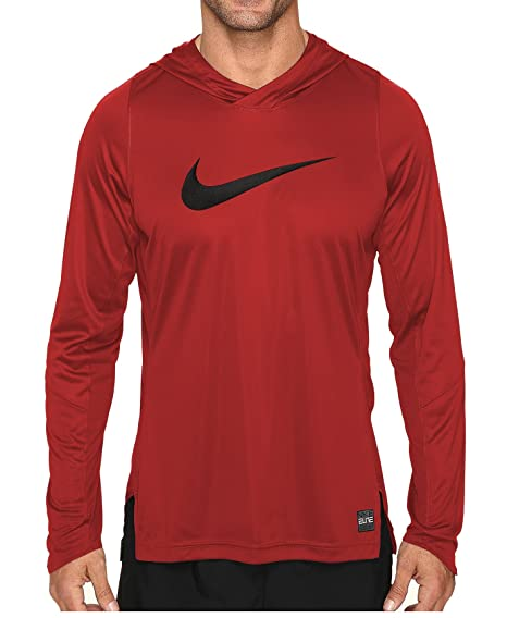 adad400e9593 Amazon.com  Nike Mens Dry Elite Basketball Pull Over Hooded Shirt  University Red Black 776123-657 Size Large  Sports   Outdoors