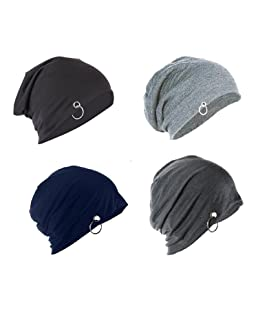 FAS Unisex Solid Beanie and Skull Cap Ring (Multicolour, Free Size) - Pack of 4