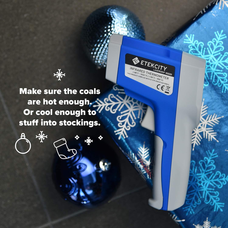 Garantie de 2 ans Etekcity 1022D Thermom/ètre Infrarouge Sans Contact /à Double Laser -50 /°C~ 550/°C avec Emissivit/é R/églable et Affichage MAX et Ecran R/étro-/éclair/é Bleu Pile fournie