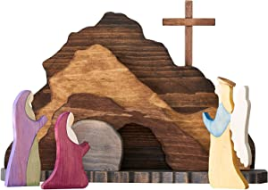 XEDZYT Easter Decorations Figurines Resurrection Clever Creations Scene Wooden Nativity Set Decoration for The Home, Handcrafted Wooden Cross Resurrection Scene Decor (A, 1 Set)