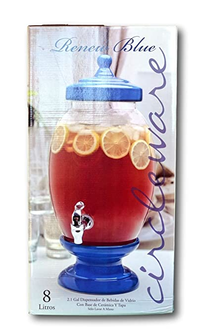 Circleware Renew Blue 270 oz. 2.1 Gallons Glass Beverage Dispenser with Ceramic Base and Lid