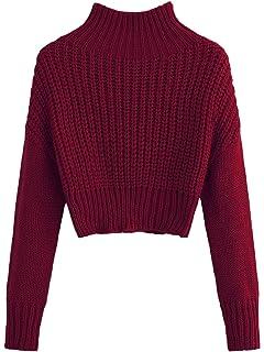 609bfe1786139c SweatyRocks Women s Drop Shoulder Mock Neck Pullover Sweater Long Sleeve  Basic Crop Sweaters