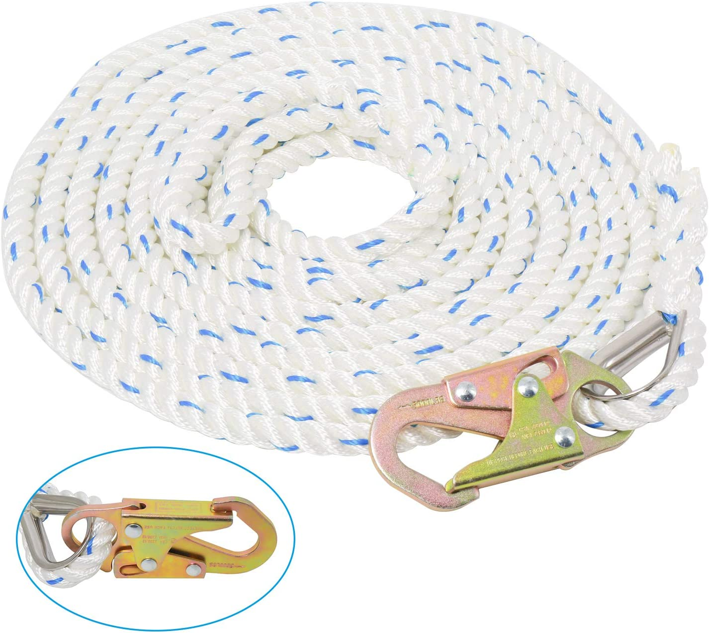 Amarine Made 5/8 Inch 25ft Fall Protection Vertical Lifeline Rope with Back Splice and Snap Hook