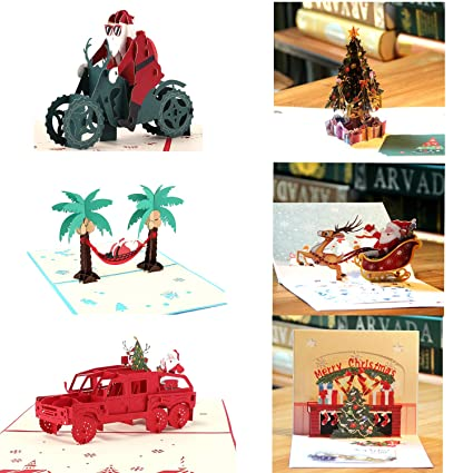 Amazon paper spiritz pack of 6 pop up christmas card 3d card paper spiritz pack of 6 pop up christmas card 3d card holiday card thank you m4hsunfo