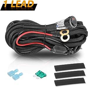 Wiring Harness for LED Light Bar, Niwaker 12V 40A LED Light Bar Wiring Harness Kit Nylon Heavy Duty Wiring Harness for Off Road Driving Lights Rocker Switch Relay Fuse for Truck UTV ATV Marine