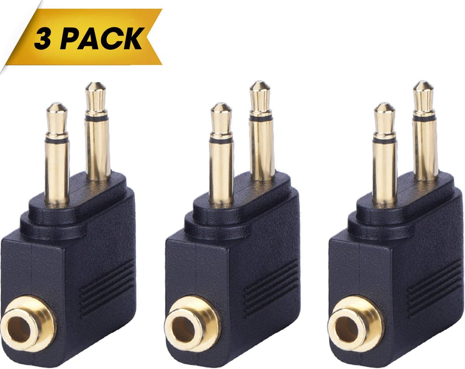 Dual 3.5mm Male to 3.5mm Female AUX Audio Jack Adapter Converter 2 Male to 1 Female Headphone Audio Adapter for Headphone on Airplane Airline Flight Airplane Airline Flight Adapter 3 Pack