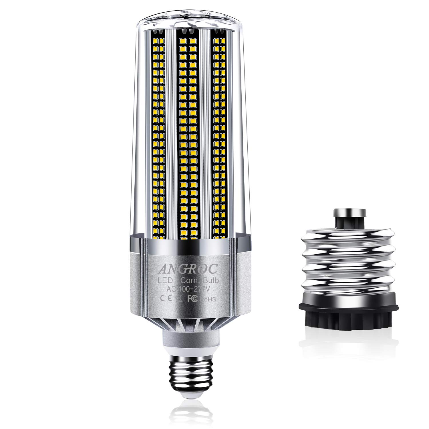 ANGROC 60W Super Bright LED Corn Lamp Bulb 6000K Cool White Daylight 700W Equivalent 7000 Lumen E26 with E39 Mogul Base Adapter,for Home Garage Warehouse Factory Commercial Lighting and More