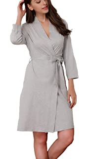 Giorzio Women Cotton Bathrobe Lightweight Dressing Gown Towelling Robe with  Pockets and… 7a0eea1bc